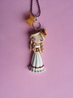 girl steampunk style polymer clay necklace fimo by Artmary2