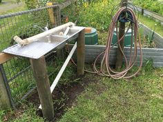 Veggie garden sink to rid the root veg of dirt before they come into the kitchen. Garden Sink, Outdoor Tables, Outdoor Decor, Reuse, Fields, Repurposed, Rid, Recycling, Outdoor Furniture