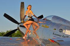 Warbird Pinup Girls Calendar photos featuring pin up girls with WWII aircraft Military Pins, Military Art, Military History, Ww2 Aircraft, Military Aircraft, Aeropostale, Navy Girlfriend, P51 Mustang, Pin Up Models