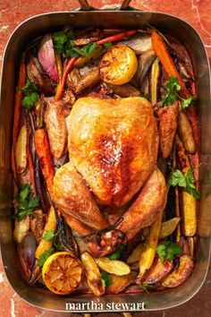 This classic main course is perfect for Easter. Loaded with fresh carrots, shallots, and potatoes, this is a dish that's sure to please. #marthastewart #recipes #recipeideas #easterfood #easterrecipes #eastertreats #easterideas Roasted Vegetables With Chicken, Best Roasted Chicken, Roasted Chicken And Potatoes, Easy Roast Chicken, Roast Chicken Recipes, Fingerling Potatoes, Roast Chicken Dinner Sides, Crispy Chicken, Pork Roast
