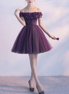 Dark Purple Off Shoulder Knee Length Homecoming Dress Lovely Formal Dress, Cute Party Dress in 2020 Dark Purple Prom Dresses, High Low Prom Dresses, Girls Formal Dresses, Prom Dresses 2018, Gala Dresses, Event Dresses, Cute Dresses For Party, Pretty Dresses, Beautiful Dresses