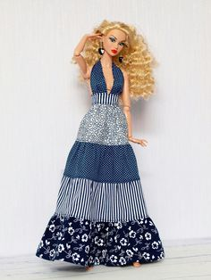 Dress for marianna by striped box miniatureclothes dollclothes dolloutfit onesixthscale – Artofit Sewing Barbie Clothes, Barbie Sewing Patterns, Barbie Dolls Diy, Doll Dress Patterns, Barbie Dress, Clothing Patterns, Barbie Costume, Diy Doll, Accessoires Barbie