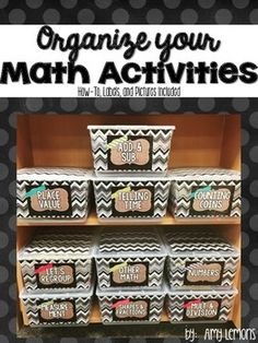 """These math labels will help organize your math stations, activities, and games!  I have included a """"how-to"""" so that you can tackle those pesky files and baggies as well as a variety of labels.  I have also included 6 blank labels that can be typed on and editable through Adobe Reader."""