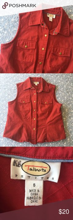 Vintage 90s style red denim button up vest Lightly worn and in great condition. Very cool piece, great for layering. Talbots Jackets & Coats Vests