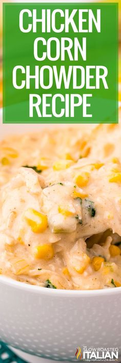Chicken corn chowder is loaded with shredded meat, vegetables, and plenty of seasonings. Make this easy one pot recipe for dinner tonight!