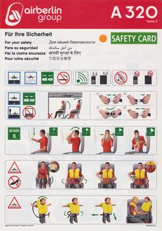 Safety Card Air Berlin A320 (2) frontCountry: Germany Germany Company: Air Berlin Aircraft types: Airbus A320 Size: 210x296 mm Format: card Languages: English, German, Russian, ... Year: - issue 2 ABFB-062 Rev.1