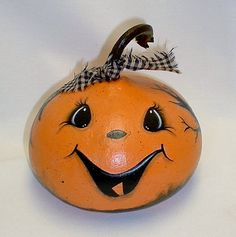 Mini Gourd Halloween JackOLantern  Hand Painted by FromGramsHouse, $12.00