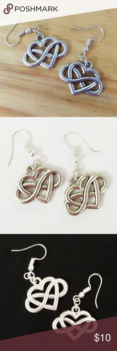 Tibetan Silver Celtic Knot Charm Earrings with Silver Plated Findings,