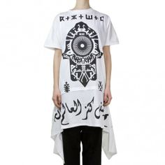 KTZ Khatt white and black peaked side long t-shirt