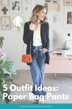 Here are five outfit ideas for how to wear paper bag pants! Great ideas for spring and the transition into warmer (or cooler!) weather. You will love these denim alternatives! Dressy Outfits, Comfortable Outfits, Simple Outfits, Cute Outfits, Mom Fashion, Denim Fashion, Fashion Outfits, Fashion Tips, Office Style