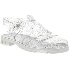 JuJu Maxi Low Jelly Shoes ($15) ❤ liked on Polyvore featuring shoes, sandals, multi glitter white, women, white sandals, glitter shoes, jelly flat shoes, juju shoes and flat sandals