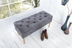 Chesterfield Truhenbank CASTLE 100cm grau Sitzbank Landhausstil mit Stauraum - Eleganz und Designkunst sind hier stilvoll miteinander vereint Unsere Sitzbank aus der Serie CASTLE ist schon auf den ers