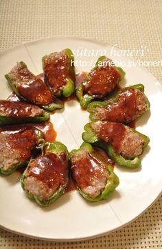 ピーマンの肉詰め、特製BBQソース