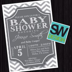 Chevron grey and white baby boy shower invite.
