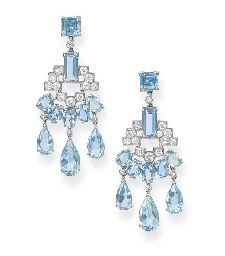 A PAIR OF ART DECO AQUAMARINE AND DIAMOND EAR PENDANTS, BY CARTIER