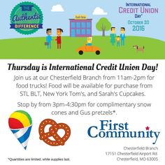 Join us for an International Credit Union Day celebration at our Chesterfield branch! Kicking off tomorrow at 11am with foodtrucks!