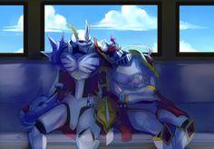 Omegamon and Dukemon fell asleep on a train by J3rry1ce