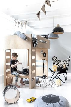 F bunk bed + B bench from Rafa-kids - perfect room for 6 years old