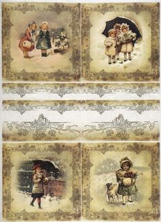 Rice paper - Winter playing time 02- for Decoupage Scrapbook Sheet #ITD #Decoupage