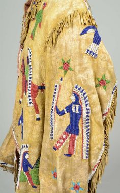 Beaded with thunder birds, stars, and riders on horseback. Hide painted with yellow ochre. Native American Clothing, Native American Beadwork, Native American Indians, Native Americans, Beaded Jacket, Art Costume, Native Style, American Traditional, Historical Pictures