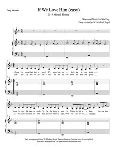 Easy Version sheet music of If We Love Him 2019 Mutual Theme for free. If Ye Love Me, Our Love, Love Him, Free Lds Sheet Music, Theme Words, Free To Use Images, How He Loves Us, Music Images, Song Time