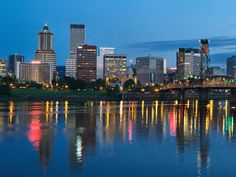 City Lights Glowing at Night, Portland, Oregon