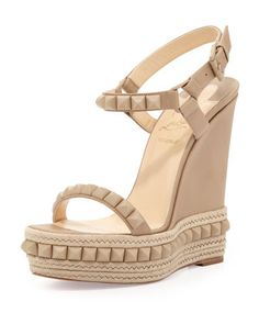 Cataclou+Red-Sole+Espadrille+Sandal,+Beige+by+Christian+Louboutin+at+Neiman+Marcus.