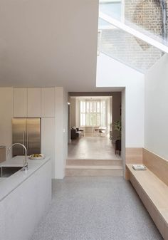 Recently completed two-storey extension to a Victorian terraced house in West London. Al-Jawad Pike design private home in Shepherd's Bush, London. Interior Design Kitchen, Modern Interior Design, Interior Architecture, Interior Decorating, Architecture Life, Contemporary Interior, Narrow Kitchen Extension, Kitchen Extension Terraced House, Minimalism Living