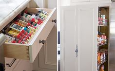 Pull-out pantry doors keep food discreetly hidden away yet close at hand.