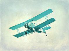 Vintage Airplane Nursery Print  Blue Aqua by SevenElevenStudios on etsy.