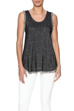 Grey tank with a scoop neck and fringe trimming. Grey Fringe Tank by Freeloader. Clothing - Tops - Tees & Tanks Clothing - Tops - Sleeveless New Orleans, Louisiana