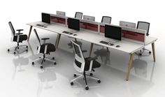 The Vega Wood Bench Desk is part of a comprehensive family of desking and benching, offering a platform designed for the entire range of applications in today's working environment. Cable Tray, Scallop Top, Conference Chairs, Desks, Office Furniture, Modern Design, Environment, Bench, Platform