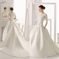 Wedding Dress with Half Sleeves, Chapel Train, High Neck, Satin Applique w/Covered Buttons 2014 Bridal Gown With Pockets