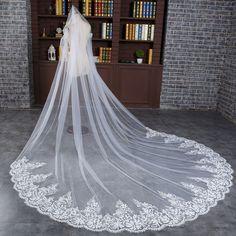 2016 recién llegado de Velos de Novia Apliques Borde flor decoración del cordón de largo de una sola capa de velo de novia envío gratis