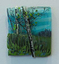 Aqua Landscape: Kiln Fired Fused Glass, panel by Alice Benvie Gebhart