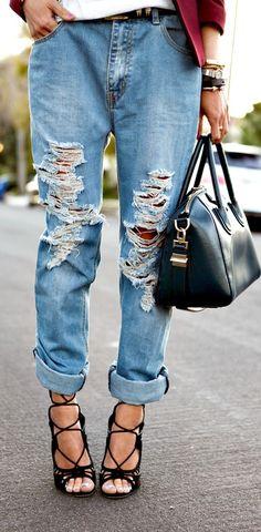 Heels always work with ripped denim.