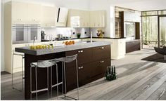 Astro Gloss: Vanilla shown here with Tavola Oak stained Wenge From the Kitchens Direct NI Kitchen Stori Range