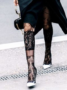 The Feminine Tights Trend It Girls Keep Wearing Lace Tights, Patterned Tights, Tights Outfit, Minimal Chic, Who What Wear, Wearing Black, Passion For Fashion, Stylish Outfits, Womens Fashion