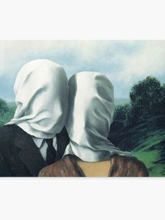 """""""René Magritte – The Lovers II"""" Framed Art Print by przezajac Magritte Art, Magritte Paintings, Artwork Prints, Framed Art Prints, Poster Prints, Rene Magritte The Lovers, A Level Art Sketchbook, Surreal Art, Les Oeuvres"""