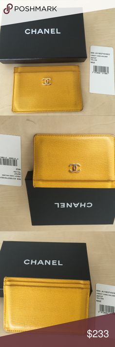 Chanel yellow leather card holder wallet CC logo Chanel yellow leather card holder small wallet with gold CC logo. 100% authentic and comes with original box and tag. CHANEL Bags Wallets