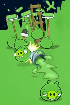 Bad piggies making every thing green