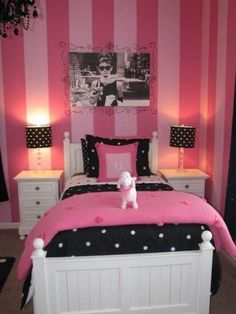 Only in Tiffany blue! Bedroom, Cute and Fun Paint Ideas for Girls Bedroom : stripe paint ideas for girls bedroom