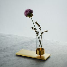 A MACHINED plate made out of solid brushed STEEL or BRASS comes complete with a hand blown glass VASE.
