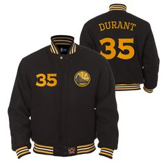 Golden State Warriors JH Design Kevin Durant #35 All-Wool Jacket - Black