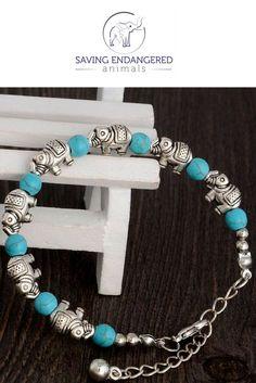 this beautiful turquoise elephant charm bracelet is available at savingendangeredanimals.com