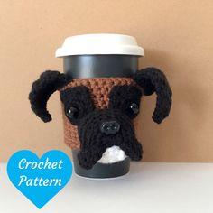 Crochet Boxer Pattern Amigurumi Pattern Dog by HookedbyAngel Black Boxer Puppies, Baby Puppies, Boxer Dogs, Boxers, Mug Cozy Pattern, Crochet Dog Patterns, Crochet Ideas, Crochet Cup Cozy, Crochet Gifts
