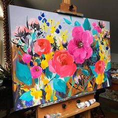 "(Update: sold) ""There Were Never Such Devoted Sisters."" acrylic on deep edge canvas, sides painted as part of the piece, will be… Art Floral, Acrylic Painting Canvas, Canvas Art, Painting Inspiration, Diy Art, Painting & Drawing, Flower Art, Illustrations, Artwork"