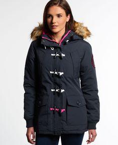 New Womens Superdry Everest Duffle Coat Navy 86fdb05a5