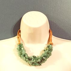 """Multi Strand Semi Precious Stone Chip Necklace Beautiful Mint colored semi precious stone statement necklace. Knotted rawhide gives it a funky edge. Length is 17"""" with an addition 3"""" on the adjustable chain clasp. Terra Jewelry Necklaces"""