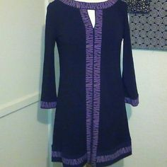Alfani Dress sz. Small Gorgeous Aldani black dress with purple an black design trim. Stretch fabric. No zipper or buttons, very comfortable pull over.  Sleeves have a slight flare. Fab condition. Purchased new, worn only one time. Thanks Alfani Dresses Midi